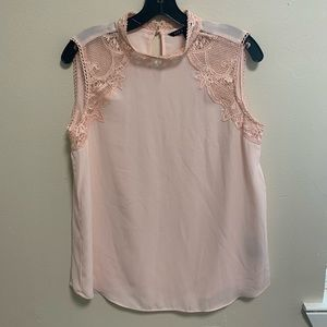 Blush Pink Top with Lace Detail- Size M